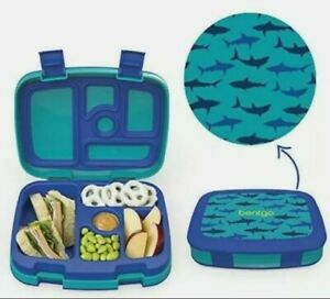 Bentgo Kids Prints Sharks - Leak-Proof, 5-Compartment Bento-Style Kids Lunch Box