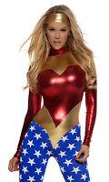 Forplay Star-Spangled Superhero Metallic Catsuit Jumpsuit Wonderwoman Costume