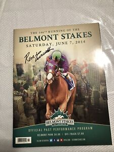 2014 Belmont stakes program sign by Secretariat Jockey Ron Turcotte