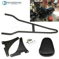 Black Sissy Bar Rear Backrest Pad For Harley Sportster XL 883C 883R H1200 04-14