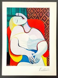 Hand signed signature - Pablo Picasso - vintage circa 1960s multi-color print