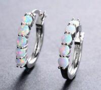 Fashion Women 925 Silver Ear Stud Huggie Hoop Earrings White Fire opal Paved