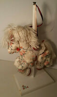 "Vtg 19"" Plush CAROUSEL Rocking Horse w Stand JOINTED LEGS Porcelain Doll Chair"