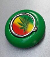 Metall Taschenaschenbecher grün Hanfblatt Motiv Zigaretten Hand Aschenbecher