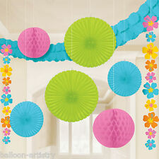 9 Piece Tropical Hawaiian Summer Party Paper Fan String & Garland Decorating Kit