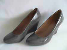 CLARKS Elsa Purity Leather Wedge Shoes Size 7.5 D Excellent Condition