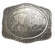 New Engraved Buffalo Belt Buckle Silver Western Mens Large Wild Cowboy Bison Big