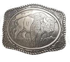 New Engraved Buffalo Belt Buckle Silver Western Mens Large Wild Cowboy Bison Big