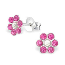 925 Sterling Silver Crystal Pink Flower With Faux Pearl Kids Girls Stud Earring