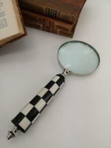 Magnifying Glass - Harlequin Black & White Handle - 26cm Long