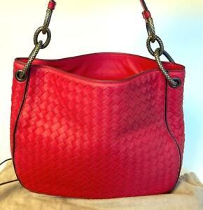 Bottega Veneta Terracotta Intrecciato Nappa Leather Red Loop Mirror Bag 494119