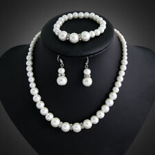 Set Necklace Pearl Jewelry Earrings Wedding Women Earring Bridal Crystal Fashion