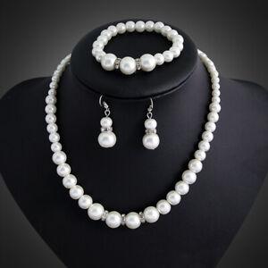 Necklace Set Pearl Jewelry Earrings Wedding Women Crystal Fashion Bridal Pendant