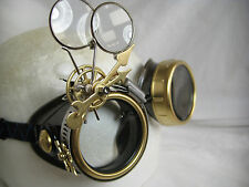 Pro Steampunk Safety Goggles Clockwork Brass Watch Parts Gears Lab Cosplay 7.5X2
