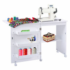 Craft Table Shelves Storage Cabinet Home Furniture W/Wheels White Folding Swing