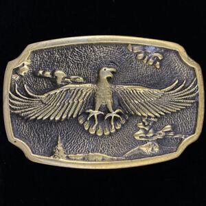 Vtg Eagle Bird Tree Western Cowboy Hippie Gift Brass New Nos 1970s Belt Buckle