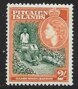 PITCAIRN ISLANDS SG27 1957 2/- GREEN & ORANGE MNH