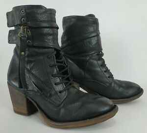 A.S.98 Airstep Womens Black Leather Ankle Heel Boots Size EU 38