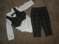boys 6/9 months suit , trousers,longsleeve vest with dickie bow and waist coat
