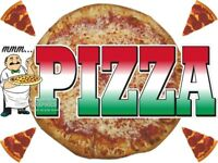 PIZZA VINYL DECAL (CHOOSE SIZE) CONCESSION STAND BOARDWALK