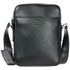 PRADA Men s Leather Cross-body Messenger Shoulder Bag Black C60 e4db704ee8e6d