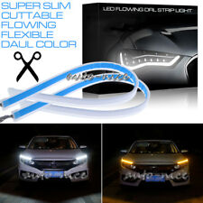 2x Flexible LED Strip Light Car DRL Daytime Running Sequential Turn Signal Light
