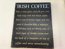 """NOVELTY WALL ART """"IRISH COFFEE"""",RECIPE PICTURE, WOODEN PLAQUE,SHABBY CHIC, SIGN"""
