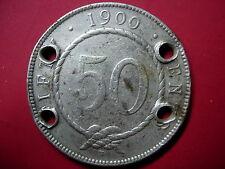 """1900H Sarawak 50 Cents Silver Coin """"Damage"""" #C27"""