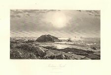 Narragansett, RI. Indian Rock, Seaside View, Vintage 1872 Antique Art Print