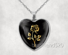 Gold Rose Photo Tibet Silver Cabochon Glass Heart Pendant Heart Necklace#1