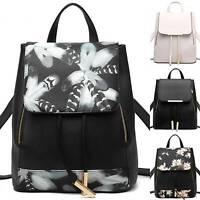 Women School Shoulder Bags Leather Backpack Girls Travel Satchel Casual Rucksack