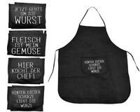 4er Set Grillschürze Schwarz | Männer Kochschürze Schürze | Grill Latzschürze