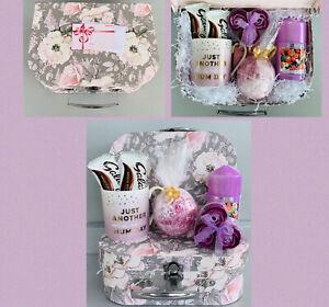 LADIES MUM BATH PAMPER HAMPER GIFT BOX SET MUG/CANDLE FOR HER BIRTHDAY CHRISTMAS
