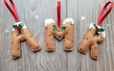 Handmade personalised christmas letter christmas tree decorations (1 included)