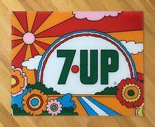 "Vintage Original 1960s 7 UP Plexiglass  23"" Soda Pop Sign Peter Max Style"