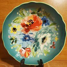 "Pioneer Woman FLORAL TEAL bowl, 7 1/2"", Excellent"