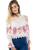 New Women URBAN MIST Floral Embroidered Cold Shoulder Top With Crochet Lace Hem