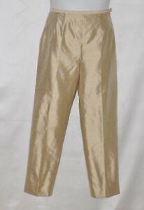 100% Silk Ankle Pants Size 8 Beige