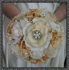 Brooch Bouquet Bridal Wedding Bouquet Shabby Chic Vintage Cream/Gold