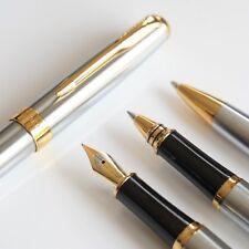 BAOER #388 Stainless Steel Ballpoint/Rollerball/Fountain Pen Set Fine Nibs GT