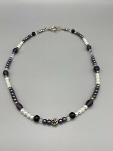 "Handcrafted Artisan Purple White Mixed Metal Beaded 16"" Choker Necklace"