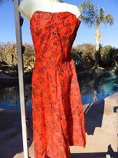 Vintage 50s sundress dress red cotton S/M smocked pinup bombshell rhinestones