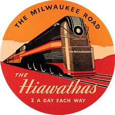 Vintage Milwaukee Road train advertisement reproduction steel sign