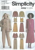 Simplicity 5463 Misses' Pants, Skirt, Tops and Jacket 10 to 18    Sewing Pattern
