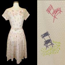 Vintage 50s CHAIR Novelty Print Pink Dress L Large SHEER Rockabilly Pinup 1950s