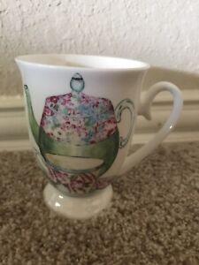 New w/o Tag Stechcol Gracie Bone China Coffee Mug/Tea Cup With Colorful Teapots