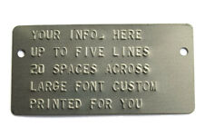 Stamped Embossed Steel Trailer Truck Car Equipment Id Data Vin Frame Plate Sn#