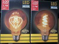 2er LED E27 Filament G95 Retro bulb Vintage  Glühlampe SET