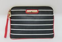 Betsey Johnson Black White Striped Bag Purse Zipper Pouch w/ Wrist Strap