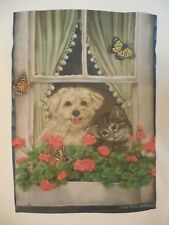 Maltese Terrier White Fluffy Dog & Grey Tabby Cat Kitten in Window Garden Flag